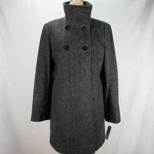 Larry Levine L Gray Wool Double Breasted Coat NWT